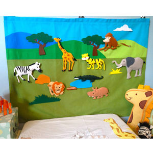Safari Dinosaur And Farm Interactive Wall Hanging - pictures & prints for children