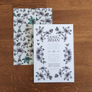 Floral pop wedding invitation in cool-green