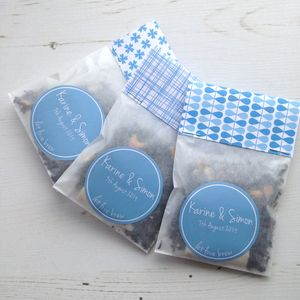 Set Of Three Personalised Wedding Favour Tea Sachets - edible favours