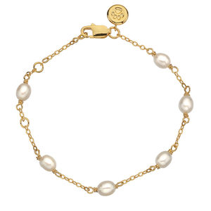 Molly Brown Gold Vermeil Pearl Station Bracelet - children's jewellery