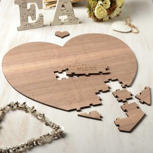 Personalised Wood Heart Wedding Guest Puzzle - remember your day