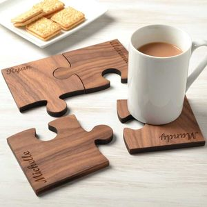 Personalised Family Set Of Four Walnut Wood Coasters - kitchen