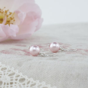 Alexia Pink Pearl And Sterling Silver Earrings - for children