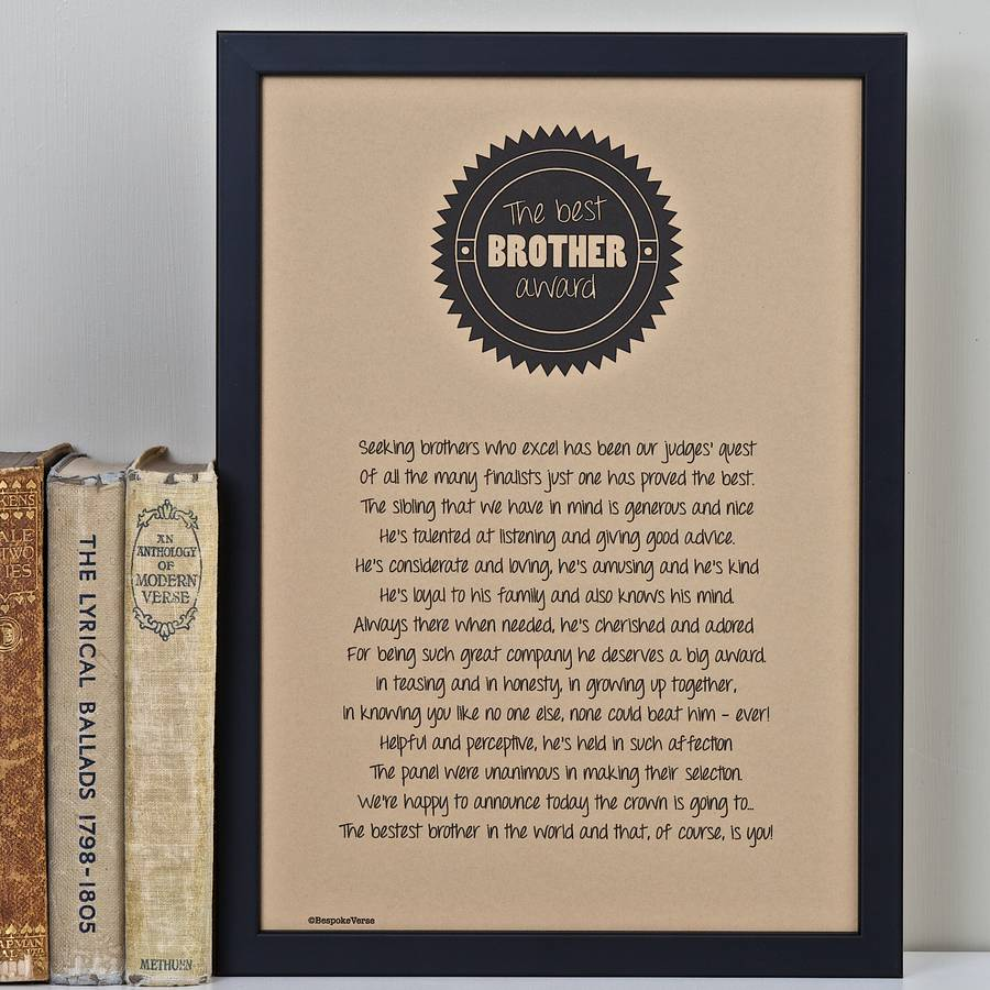 Best Brother Award Poem Print By Bespoke Verse