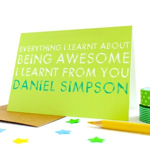 Personalised 'Being Awesome' Greetings Card - home sale
