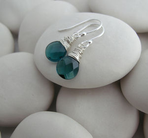 Dark Green Gemstone Earrings - earrings