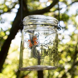 Orange Butterfly Glass Jar Tea Light Holder - votives & tea light holders