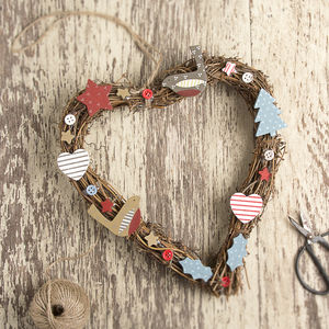 Country Style Heart Christmas Wreath