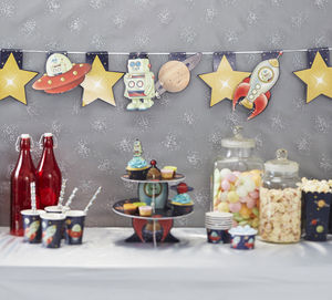 Spaceship, Robot, Planet And Star Party Bunting