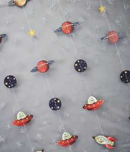 Spaceship, Planet And Star Party Backdrop - children's decorative accessories