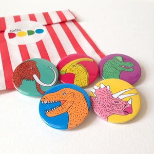 Dinosaur Badges Set Of Five - pins & brooches