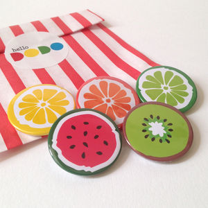 Fruit Badges Lemon, Orange, Lime, Kiwi And Watermelon - children's jewellery