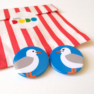 Seagull Badges Grumpy And Happy Seagull Set - pins & brooches