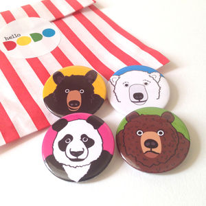 Bear Badges Set Of Four - pins & brooches
