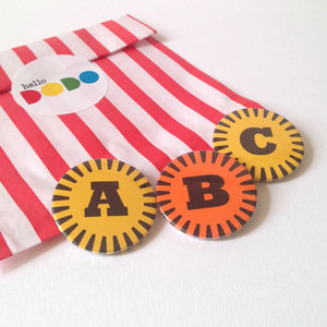 Retro Letter Badges - personalised jewellery