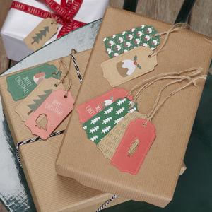 Festive Christmas Patterned Gift Luggage Present Tags - finishing touches