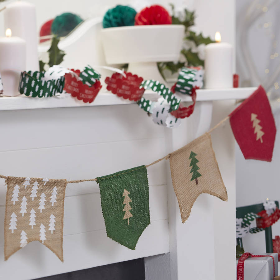 Christmas hessian tree print bunting by ginger ray for Decoration table de noel rouge et blanc