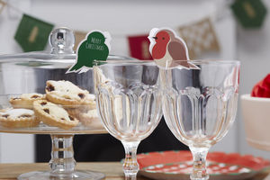 Festive Robin Glass Decorations And Name Places - glass charms