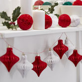 Christmas Red And White Honeycomb Bauble Garland - christmas decorations