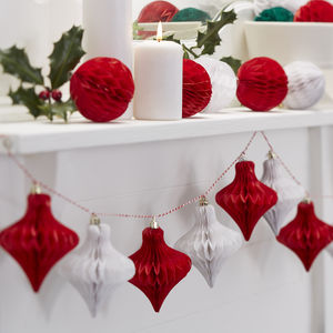 Christmas Red And White Honeycomb Bauble Garland - garlands & bunting