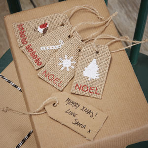 Christmas Hessian Gift Luggage Tag - ribbon & wrap