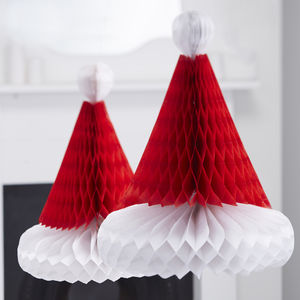 Two Christmas Honeycomb Santa Hats - winter sale