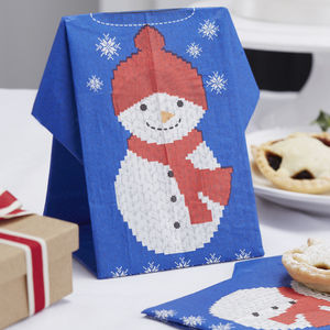 Christmas Jumper Napkins Snowman Design - kitchen