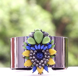 Honeycomb Sparkle Cuff - statement jewellery