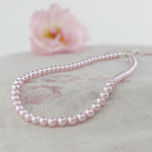 Alexia Pink Pearl Necklace And Bracelet Set - flower girl jewellery