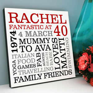Personalised 40th Birthday Typographic Art - 40th birthday gifts