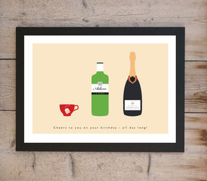 'Love Tea, Adore Gin, Worship Champagne' Print - food & drink prints