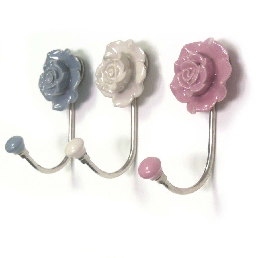 Flower ceramic hallway bedroom coat hooks by pushka home Cute coat hooks