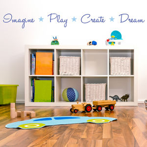 'Imagine, Play, Create, Dream' Quote Wall Sticker - wall stickers