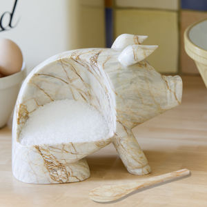 Hand Crafted Salt Piggy. Dark Or Cream Colour