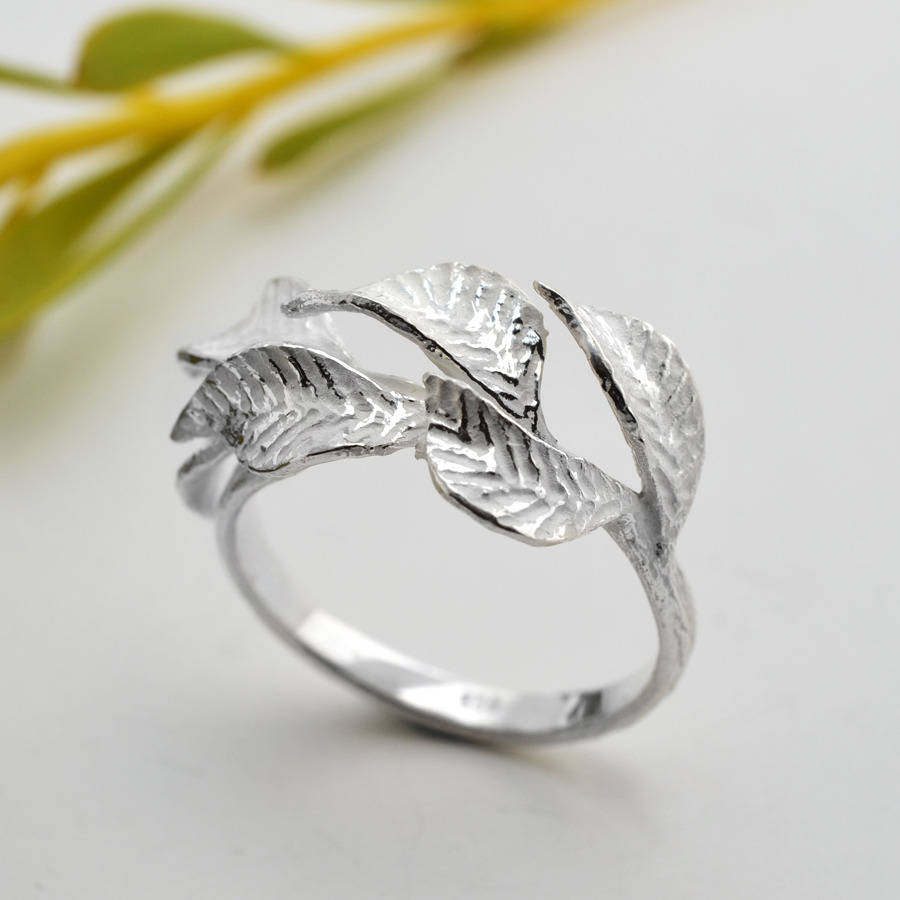 silver laurel leaf ring by martha jackson sterling silver