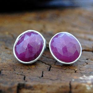 Organic Precious Ruby Silver Stud Earrings - women's jewellery