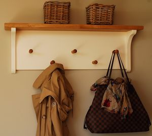 Simple Peg Rail With Oak Shelf In A Choice Of Colours
