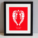 Artwork in Lobster Red in a black frame
