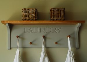 Laundry Rack With Oak Shelf And Pegs - shelves & racks