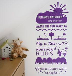 Personalised Adventure Wish List Wall Sticker Nature - bedroom