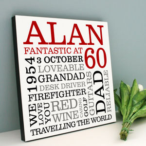 Personalised 60th Birthday Typographic Art - home accessories
