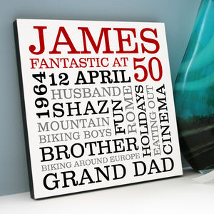 Personalised 50th Birthday Typographic Art - shop by price