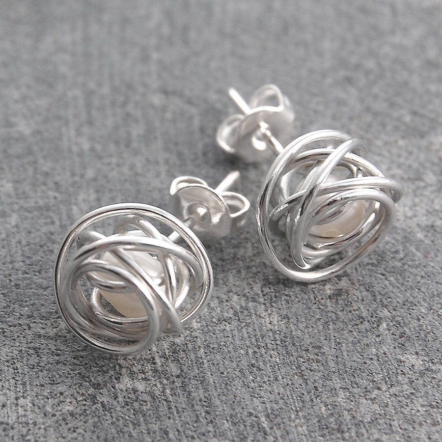 Wire Wrapped June Birthstone Pearl Silver Stud Earrings By