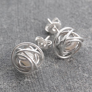 Silver Wire Wrapped White Pearl Stud Earrings - earrings