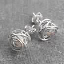 Silver Wire Wrapped White Pearl Stud Earrings