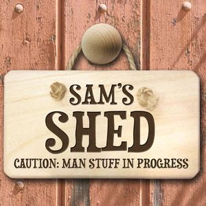 Caution: Man Stuff Personalised Wooden Sign - art & decorations