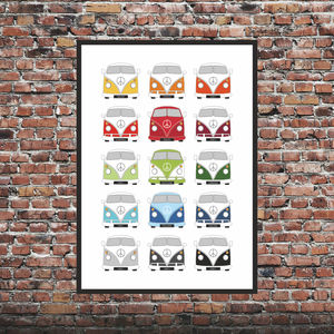 Personalised Split Screen Campervan Print X15 - posters & prints