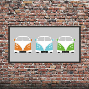 Personalised Split Screen Campervan Print X3 - posters & prints