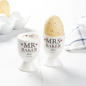 Personalised Mr And Mrs Egg Cups