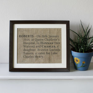 Personalised Birth Announcement